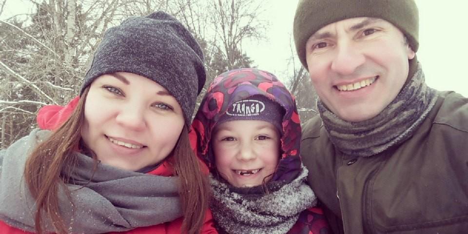 Семья Грушиных на прогулке 11 февраля