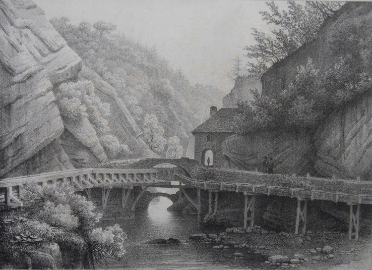 Монастырь Гранд-Шартрез. Alexandre Debelle. Литография. Конец XIX-начало XX вв.