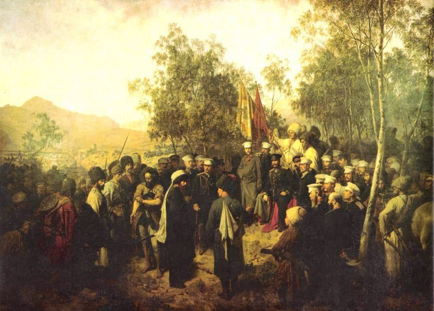 Теодор Горшельт, 1863 год, «Пленный Шамиль перед главнокомандующим князем А. И. Барятинским  25 августа 1859 года».