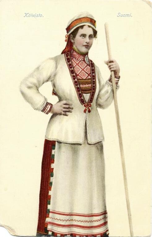 Девушка в традиционном костюме прихода Койвисто.Нач. ХХ в.