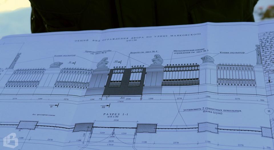 План расположения скульптур на ограде дома «Хякли, Лаллука и Ко»